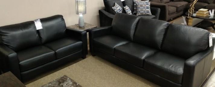 10133 Sofa Love Set Black Genuine Leather Canadian Made