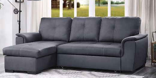 9126 Gph Dark Grey Sofa Chaise Pull Out Bed