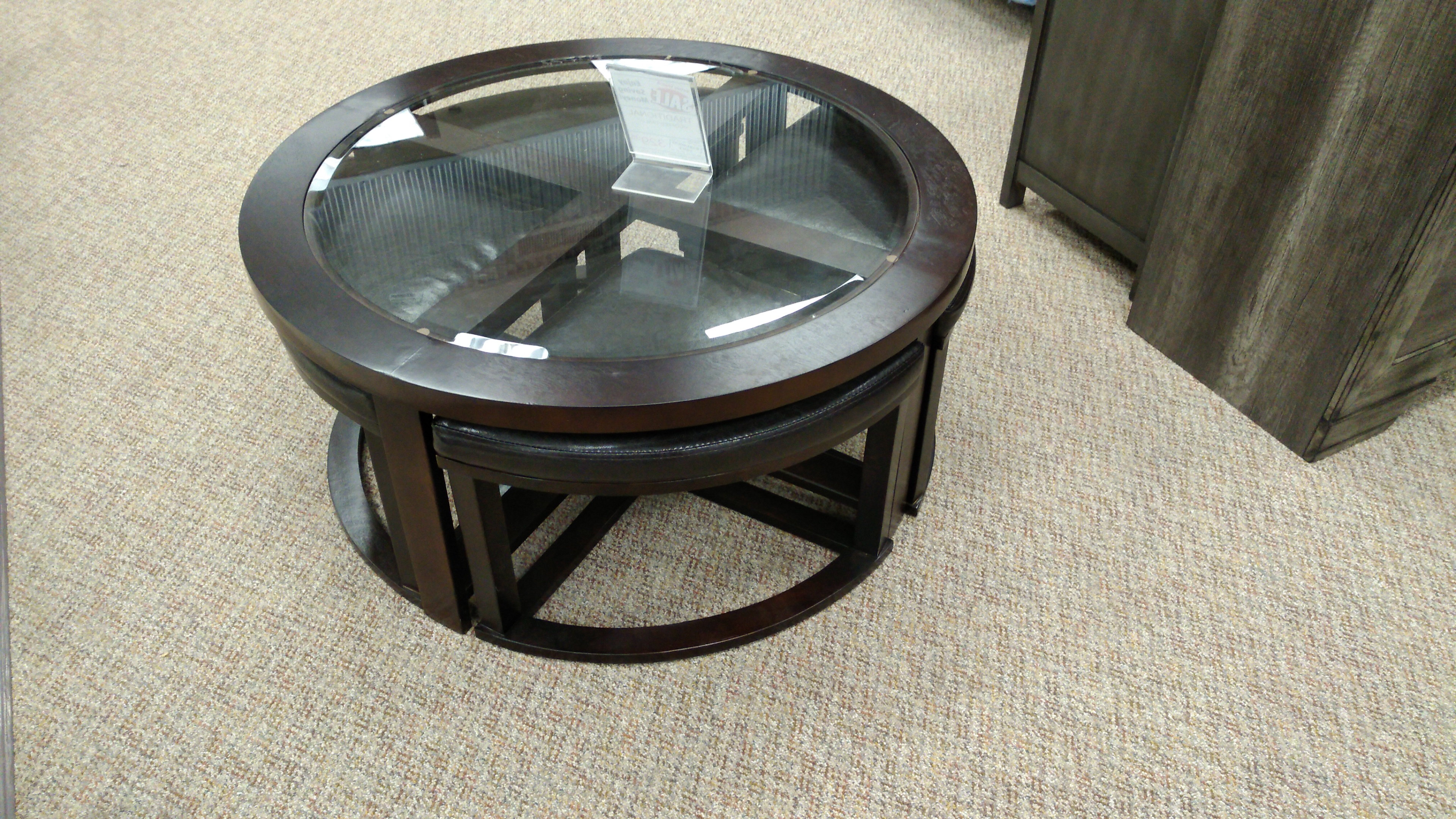 Circle Coffee Table With Seats.477 Brown Coffee Table With 4 Stools