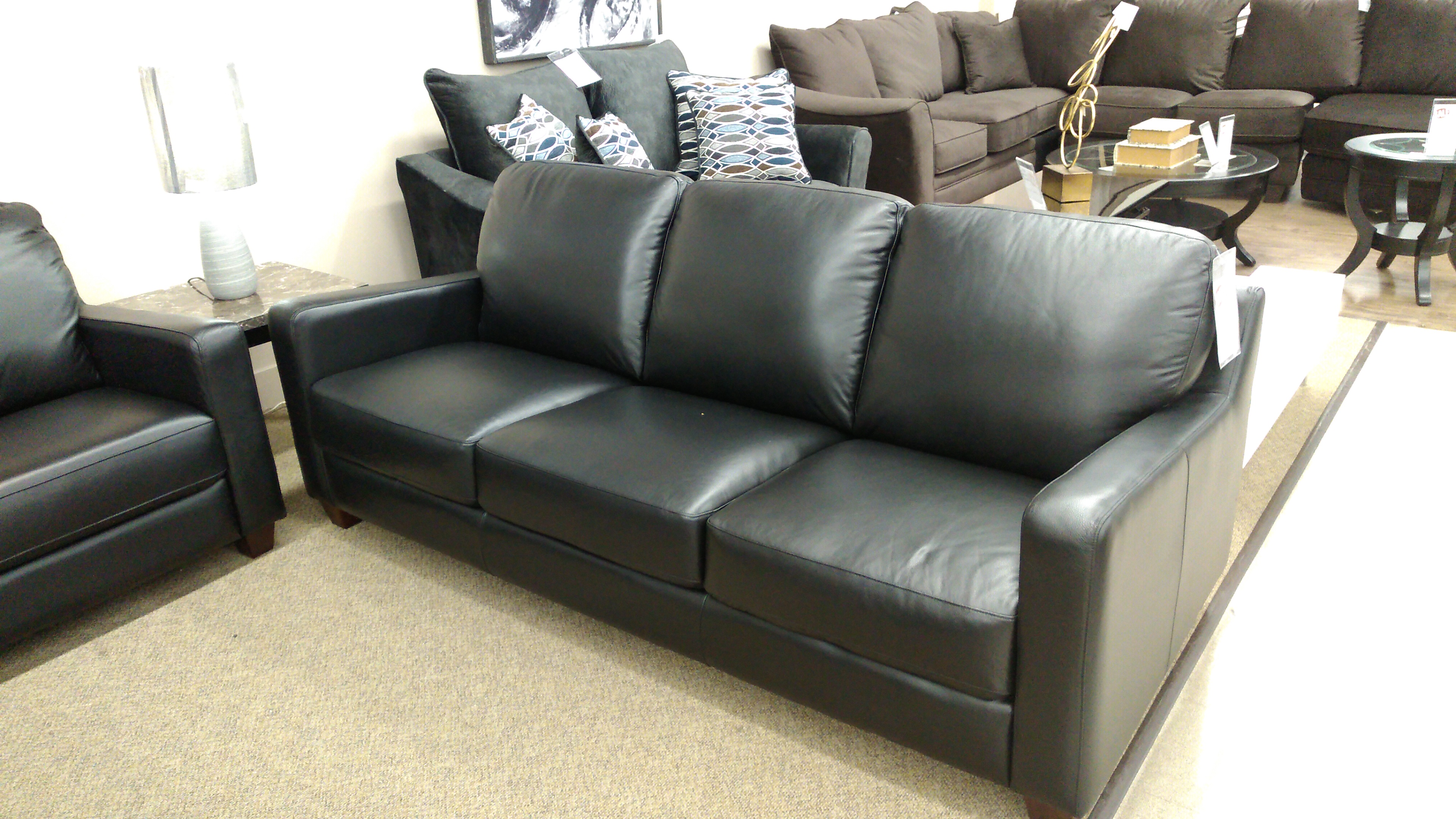 Superb 10133 Black Genuine Leather Sofa Canadian Made Interior Design Ideas Clesiryabchikinfo