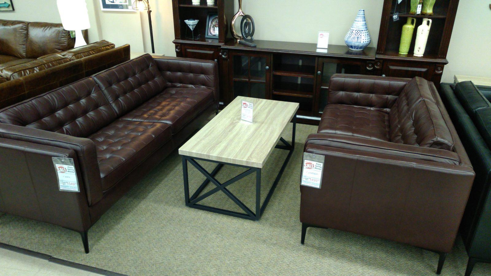 Stylus Leather Calvert Redwood Loveseat Sofa Set